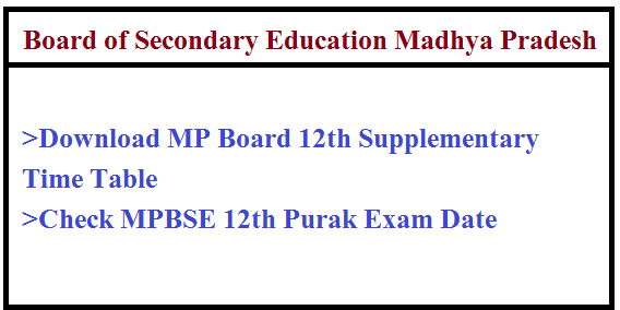 MP Board 12th Supplementary Time Table 2020