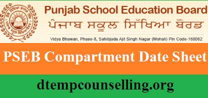 PSEB Compartment Date Sheet 2019