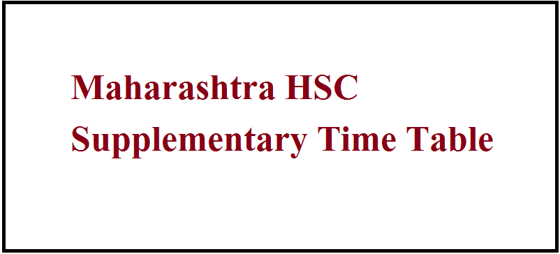 Maharashtra HSC Supplementary Time Table 2020