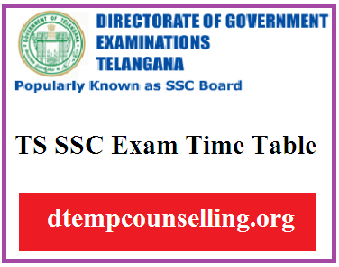 TS SSC Time Table 2021