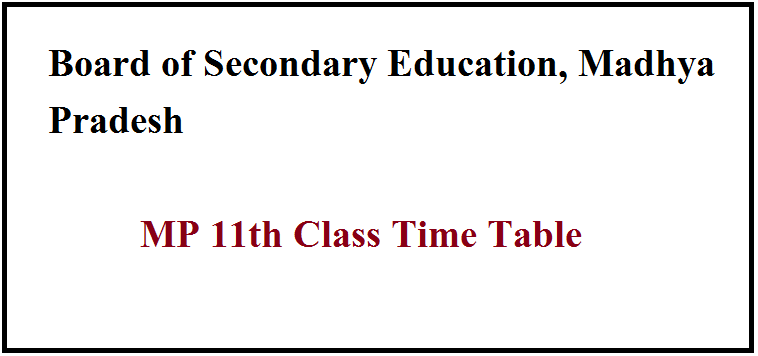 MP 11th Class Time Table 2021