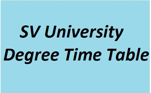 SVU Degree Time Table 2021